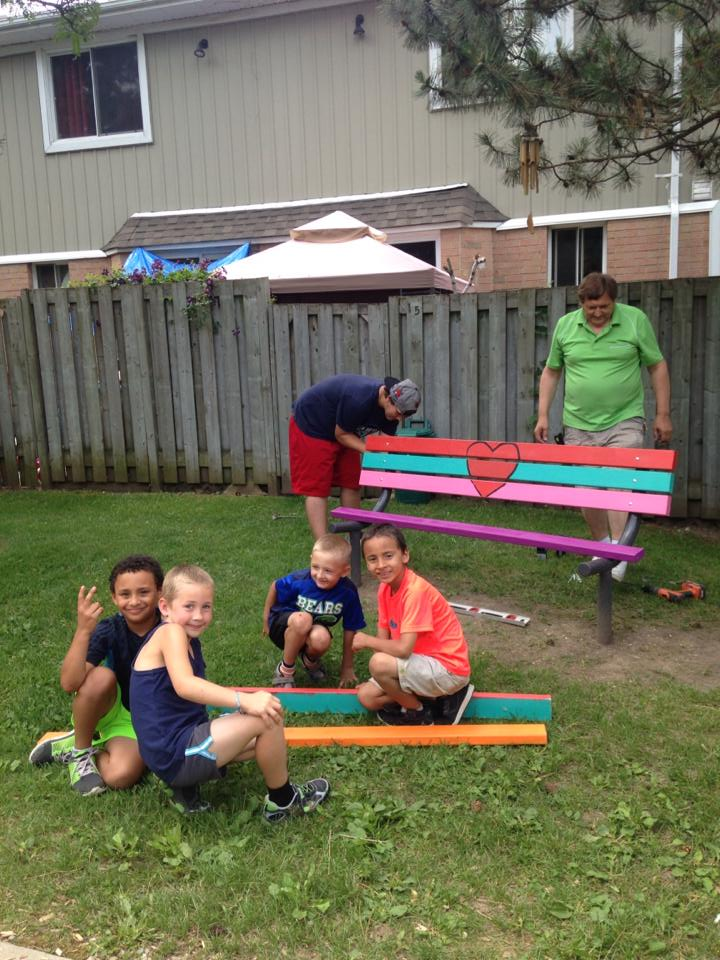 Kids and bench